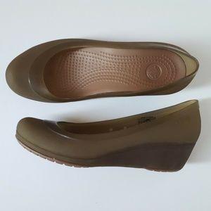 Crocs Shoes Brown Wedge Translucent Carlisa 9